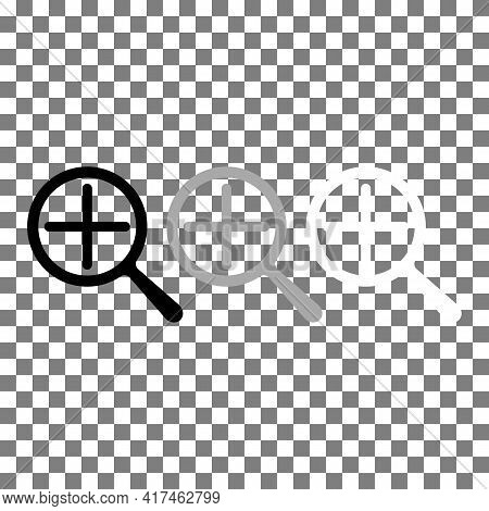 Zoom In Magnifier Search Black, Grey, White Icon. Magnifying Glass Or Search Sign Concept. Trendy Fl