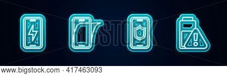 Set Line Mobile Charging Battery, Glass Screen Protector, With Shield And Smartphone Charge. Glowing
