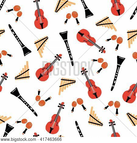 Hand Drawn Seamless Pattern Of Musical Instrument. Flat Sketch Style. Isolated Vector Illustration F