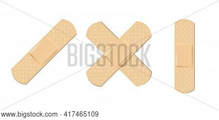 Plaster Adhesive Bandage Collection. Wound Plasterer Or Bandaged Patch, Vector Adhesive Health Care