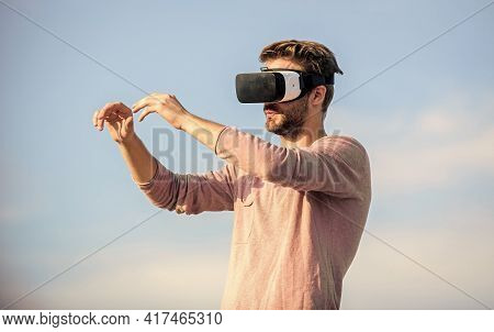This Is Cool. Guy Virtual Reality Goggles. Create Own Business. Play Virtual Game. Male Reality In D