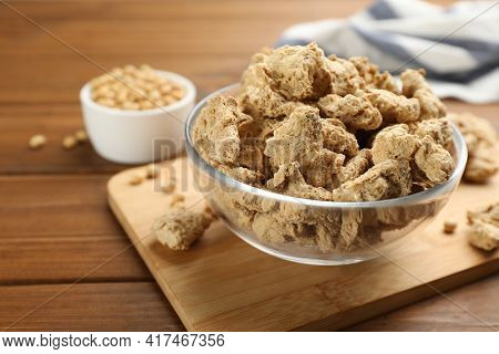 Dehydrated Soy Meat Chunks On Wooden Table