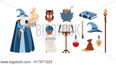 Wise Wizard With Beard And Hat Saying Magic Spell A Fantasy Vector Illustration.