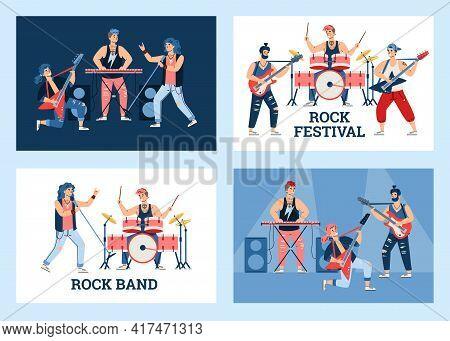Rock Festival Or Rock Band Concert Banners Set Cartoon Vector Illustration.