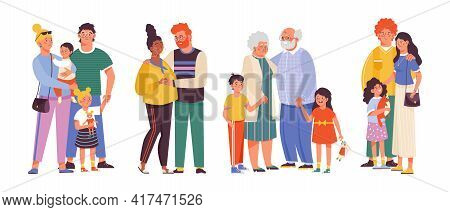 Happy Families Hug And Love Each Other A Flat Vector Isolated Illustrations.