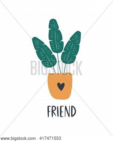 Hand-drawn Tropical House Plant Banana. Trendy Cozy Home Decor. Cute Tropical Leaves In Stylish Yell