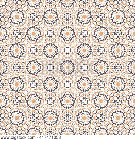 Seamless Texture With Arabic Geometric Ornament. Vector Asian Mosaic Pattern With Alternating Decora