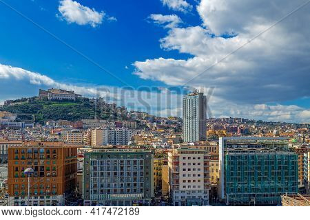 Naples, Italy - March 23, 2021: Port Of Naples With Sant Elmo Castle In The Background.