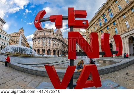 Genoa, Italy - 20 March, 2021: Logo Of Genova Located In Piazza Raffaele De Ferrari, The Main Square