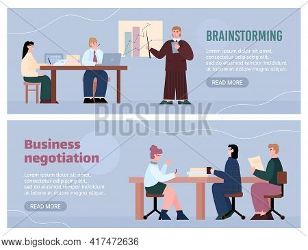 Brainstorming And Business Negotiations Banners Cartoon Vector Illustration.