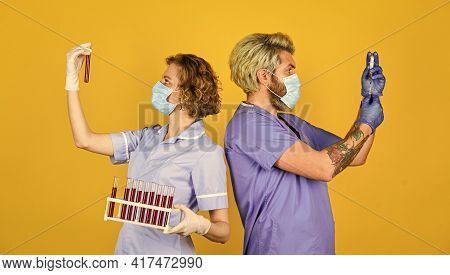 Creating Vaccine. Medical Professional Workers Colleagues. Doctors Respirator Mask. Infection Vaccin