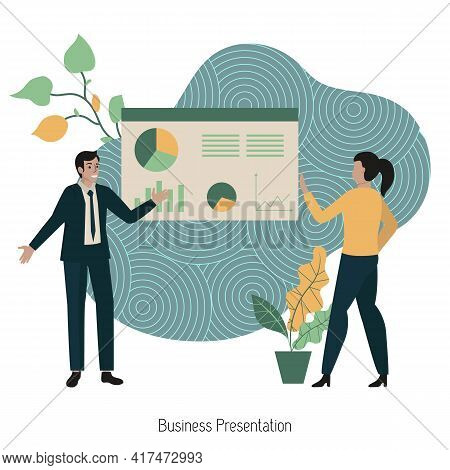 Business Presentation Concept With Characters. Presentation Of The Project. Business Man Giving Busi