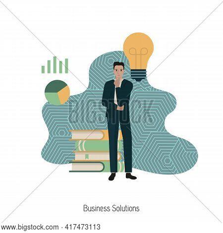 Business Solutions, Creative Idea Concept. Businessman Make Solution. Modern Vector Illustration.