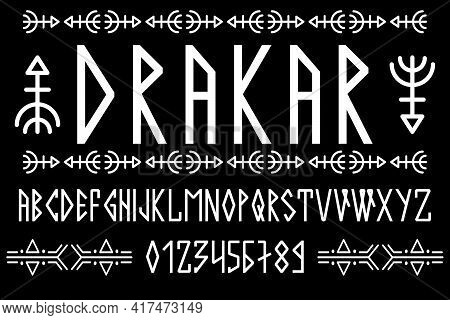 Scandinavian Script, In Capital Letters In The Style Of Nordic Runes. Modern Design. A Magical Rune