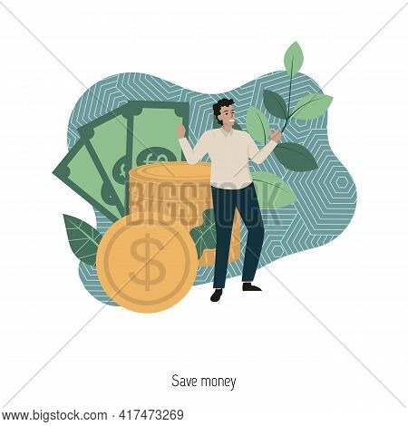 Save Money Concept. Return On Investment, Income Growth, Long Term Investment. Modern Vector Illustr