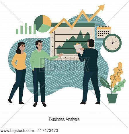 Business Analysis Concept. Data Analysis Concept. People Analyzing Growth Charts. Business Data Anal