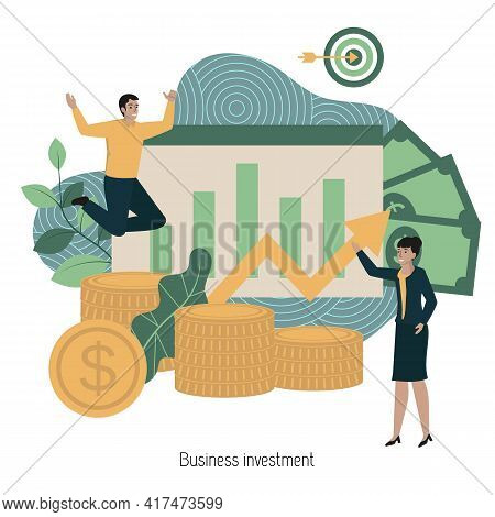 Business Investment Concept. Financial Growth Rising Up To Success. Investment Strategy And Capital