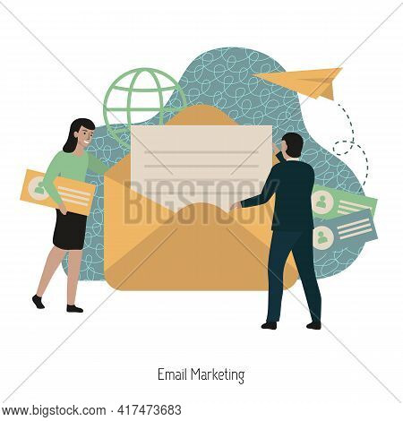 Email Marketing Concept. Email Open Rate, Newsletter Campaign, Email Content. Modern Vector Illustra