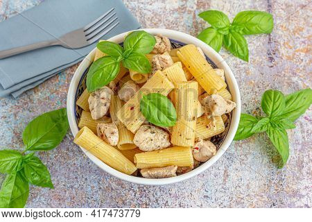 Chicken Rigatoni Pasta, Italian Food, Fresh Basil, Mediterranean Food Photography