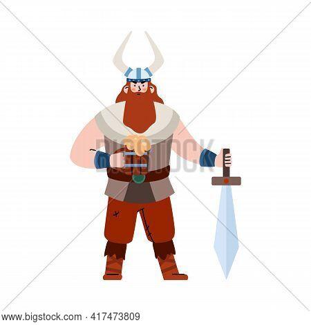 Mighty Scandinavian Bearded Viking Warrior Flat Vector Illustration Isolated.