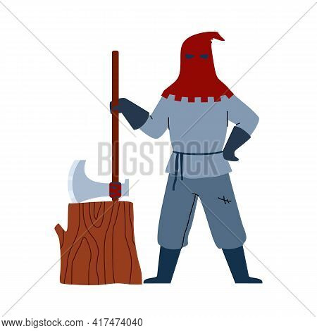 Medieval Executioner Man Holding Huge Axe, Flat Vector Illustration Isolated.