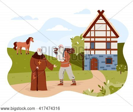 Medieval City Or Village With Priest And Peasant, Vector Illustration Isolated.
