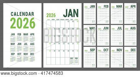 Calendar Planner 2026. English Calender Green Template. Vector Grid. Office Business Planning. Creat