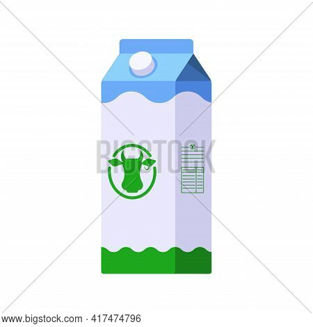 Flat Style Icon Of Milk In Big Carton Package Isolated On White Background. Colorful Vector Milk Ico