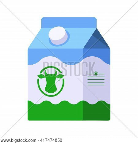 Flat Style Icon Of Milk In Small Carton Package Isolated On White Background. Colorful Vector Milk I