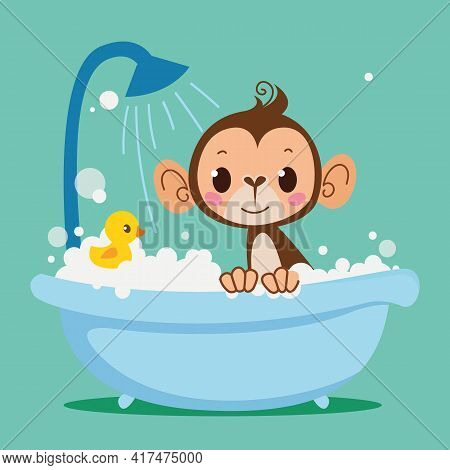 Cute Baby Monkey Bathes In The Bath. Vector Print For Children. Cartoon Character Kids Animal. Clean