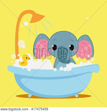 Cute Baby Elephant Is Bathing In The Bathtub. Vector Print For Children. Cartoon Character Of Kids A