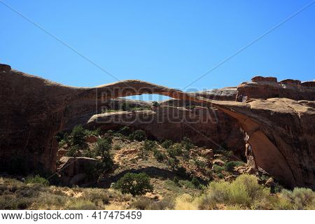 Moab, Utah / Usa - August 18, 2015: Rock Formation And Landscape At Arches National Park, Moab, Utah