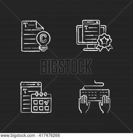 Seo Text Chalk White Icons Set On Black Background. Original Engaging Content. Meeting Deadlines. Ke