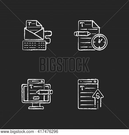 Text For Online Advertisement Chalk White Icons Set On Black Background. Urgent Freelance Project, S