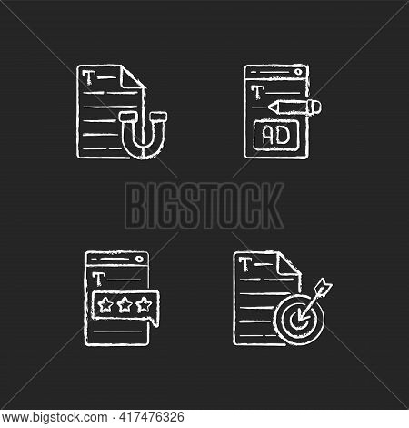 Engaging Online Content Chalk White Icons Set On Black Background. Writing Ads For Online Marketing.