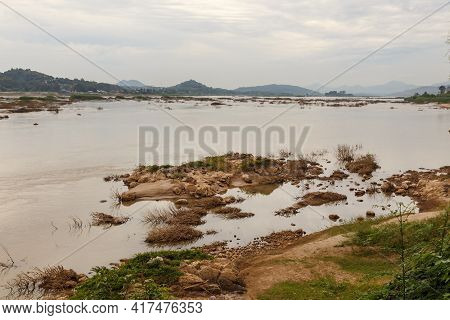 Natural Landscape Of Mekong River. Border Between Laos And Thailand. View Of The River From Laos.