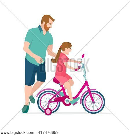 Caring Dad Teaching Daughter To Ride Bike For The First Time. Father Man Helping Girl Kid Riding Bic