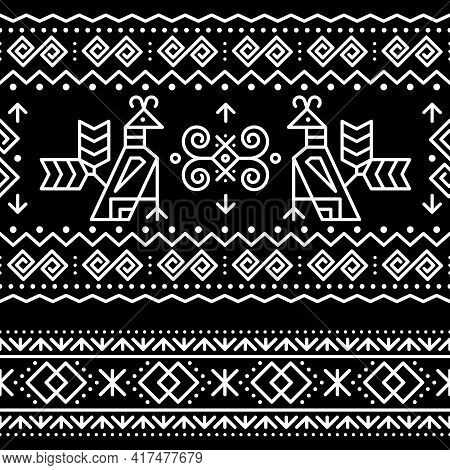 Slovak Tribal Folk Art Vector Seamless Geometric Two Patterns With Brids Swirls, Zig-zag Shapes Insp