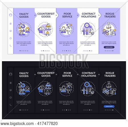 Buyer Allegations Onboarding Vector Template. Responsive Mobile Website With Icons. Web Page Walkthr
