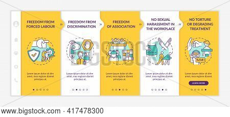Migrant Workers Freedoms Awareness Onboarding Vector Template. Responsive Mobile Website With Icons.