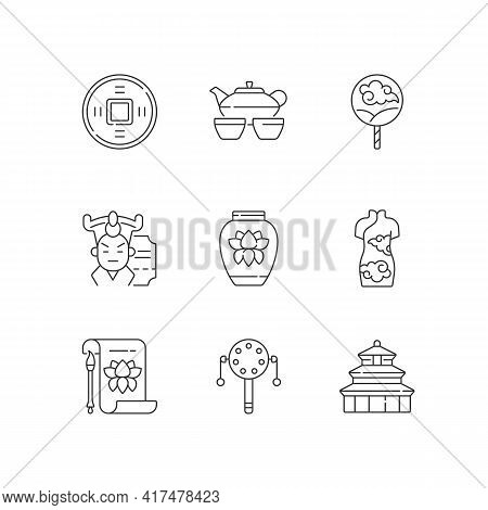 Chinese Traditions Linear Icons Set. Ancient Coin. Tea Ceremony. Cantonese Opera. Temple Of Heaven.