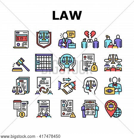 Law Justice Dictionary Collection Icons Set Vector. Family And Social Norms, Leasing And Breach Of C