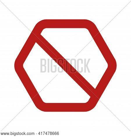 Empty Hexagonal No Sign. Prohibition Symbol. Forbidden Hexagonal Sign. Vector Illustration Isolated