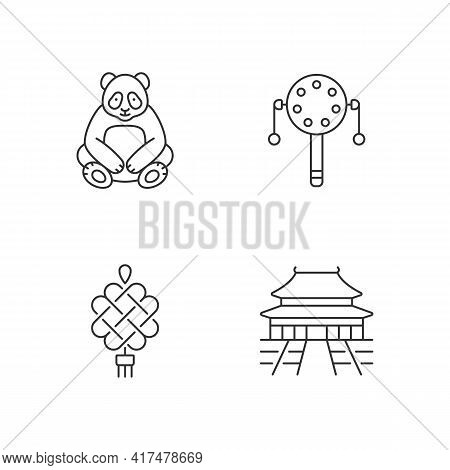 Chinese Culture Linear Icons Set. Pellet Drum. Chinese Knotting. Forbidden City. Asian History. Cust