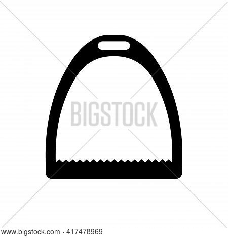 Vector Flat Horse Equestrian Saddle Stirrup Silhouette Isolated On White Background