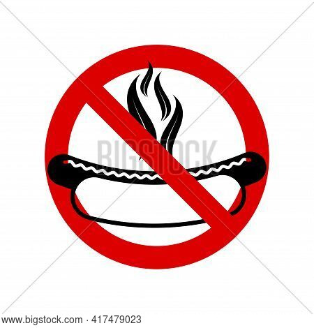 No Barbecue, No Grill. Prohibition Sign. Forbidden Round Sign. Vector Illustration Isolated On White