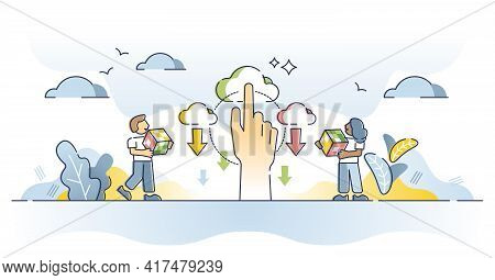 Content Delivery As Location Based Information Distribution Outline Concept. Online Technology For W