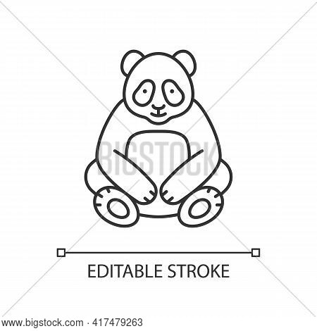 Big Panda Linear Icon. Traditional Chinese Animal. Beijing Zoo Mascot. Endangered Species. Thin Line