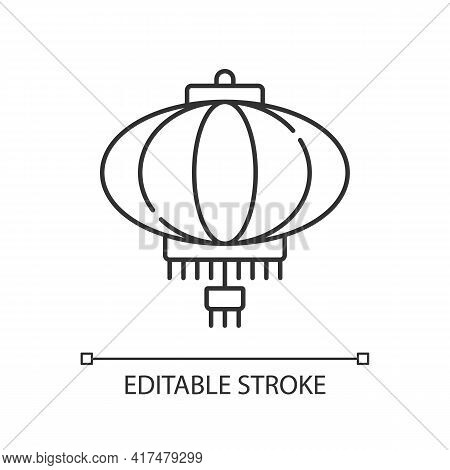 Chinese Lantern Linear Icon. Traditional Asian Paper Lantern. Japanese Culture. Oriental Item. Thin