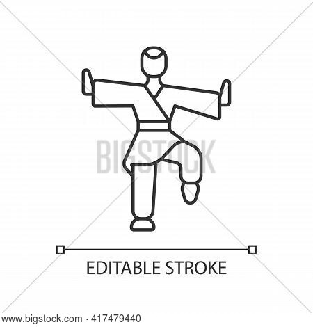 Kung Fu Linear Icon. Martial Arts Training. Karate Class. Traditional Fighting. Thin Line Customizab